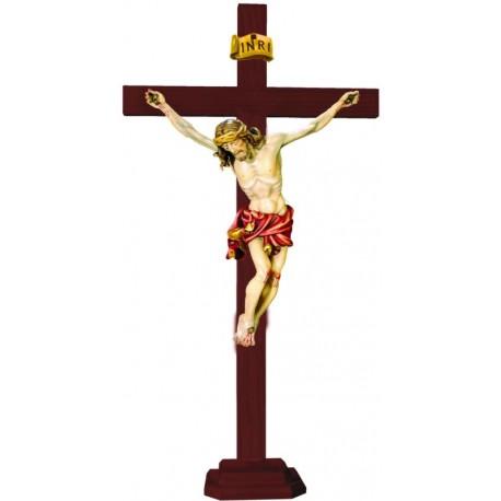 Christuskörper auf geraden Balken mit Sockel - Rotes Tuch