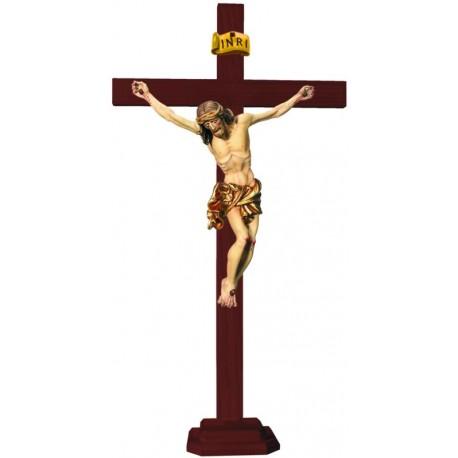 Christuskörper auf geraden Balken mit Sockel - Vergoldetes Tuch