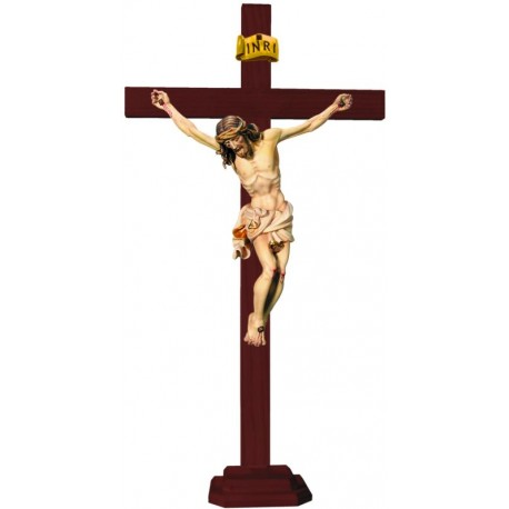 Christuskörper auf geraden Balken mit Sockel - Weißes Tuch