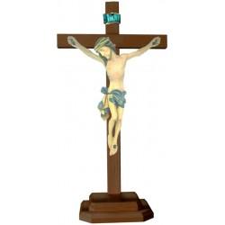 Christuskörper mit Sockel auf Kreuz - Blaues Tuch