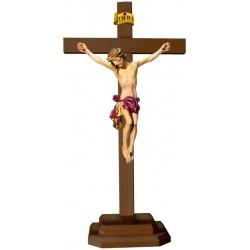 Christuskörper mit Sockel auf Kreuz - Rotes Tuch