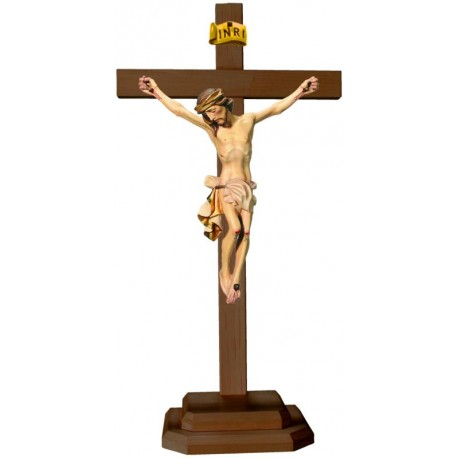 Body of Christ on Straight Cross and Base - White cloth