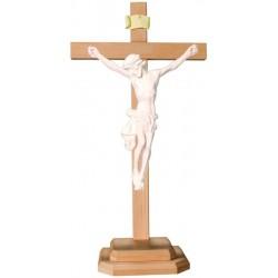 Barockes Standkreuz mit Christuskorpus aus Lindenholz - Natur