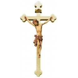 Body of Christ on Baroque Cross in wood - stained 3 col.