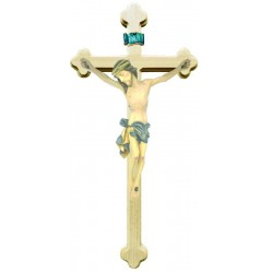 Body of Christ on Baroque Cross in wood - Blue cloth