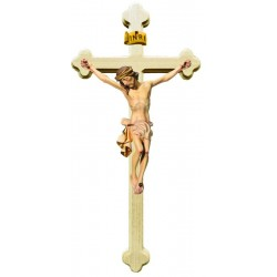 Body of Christ on Baroque Cross in wood - White cloth