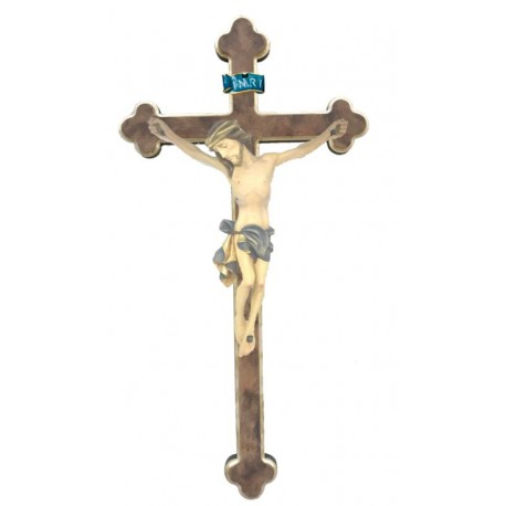 Body of Christ wood on baroque cross - Blue cloth
