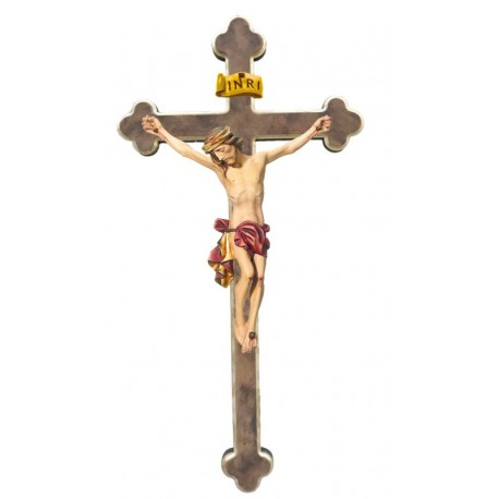 Body of Christ wood on baroque cross - Red cloth