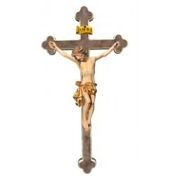 Corpo di Cristo in legno croce barocca - drappo dorato