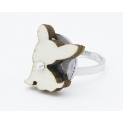 Ring with dog in wood
