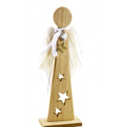 Wooden angel with plush wings
