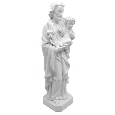 Wooden St. Joseph with child and lily - Shop online - natural