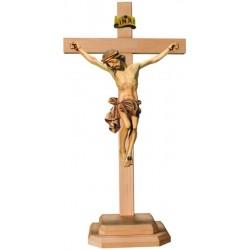 Barockes Standkreuz mit Christuskorpus aus Lindenholz - mehrfach gebeizt