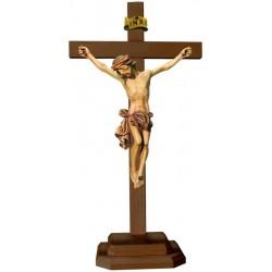 Christuskörper mit Sockel auf Kreuz - mehrfach gebeizt