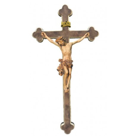 Body of Christ wood on baroque cross - stained 3 col.
