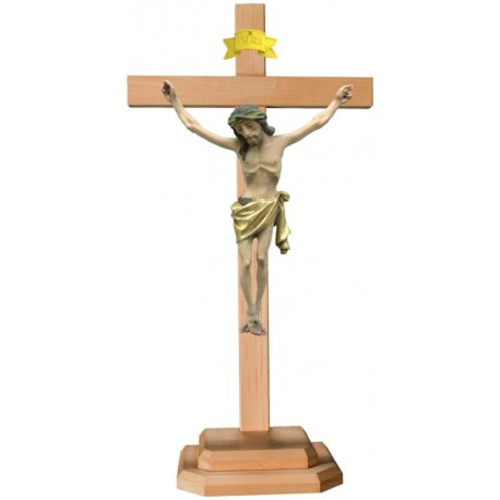 Wood carved Body of Christ on cross and base - Gilded cloth