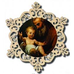 Medaglia con San Giuseppe in legno addobbo laser