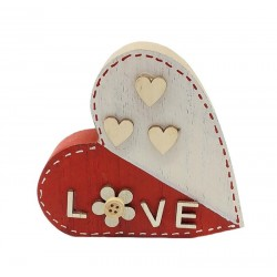 Wooden heart red and white