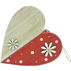 Wooden heart in red color to hang