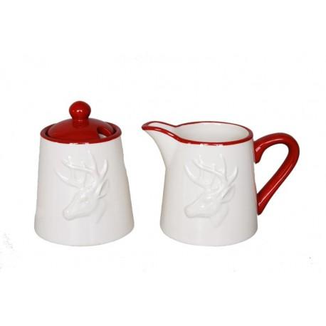 Milk jug with sugar bowl in ceramic