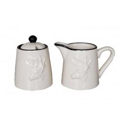 Milk jug and sugar bowl set in ceramic