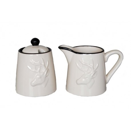Milk jug and sugar bowl set in ceramic