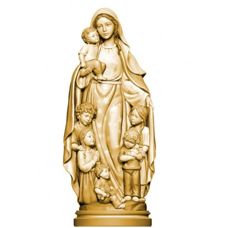 Blessed Mother with children of the world - stained 3 col.