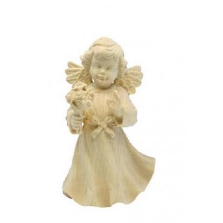 Angelo in legno finemente scolpito con fiore