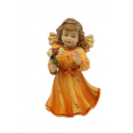 Angelo scolpito in legno acero scolpito con fiore
