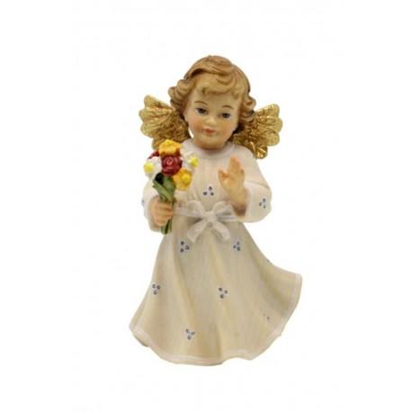 Angelo scolpito in legno scolpito con fiore