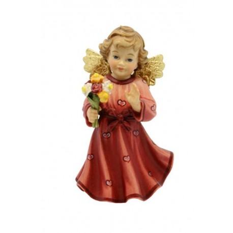 Angelo scolpito in legno con fiore