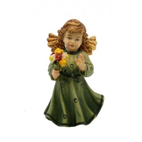 Angelo in legno con fiore