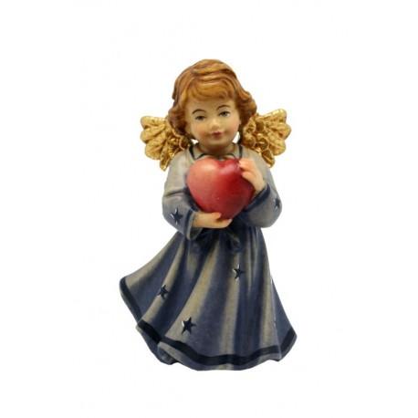 Angelo con cuore in legno