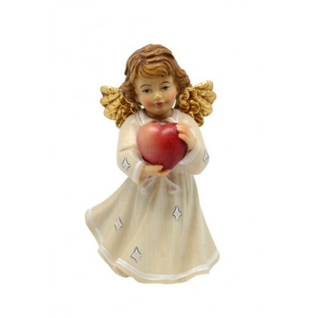Angel with Heart carved in maple wood in White Color - Dolfi Wooden Angel Statues - Made in Italy