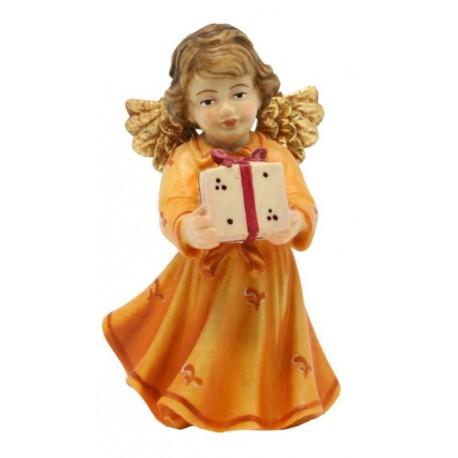 Engel mit Geschenk natur Holz