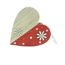 Wooden heart with flower to hang