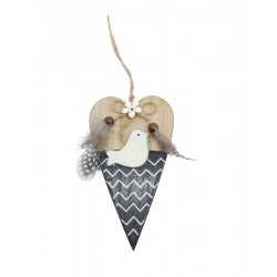 Wooden heart with bird to hang