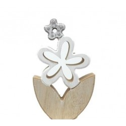 Fiore in legno bianco decorazione