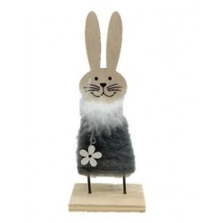 Wooden bunny with gray felt skirt