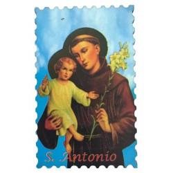 Holzmagnet Hl. Antonius mit himmelblauen Hintergrund