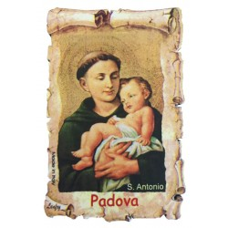 St. Anthony parchment-shaped wooden magnet