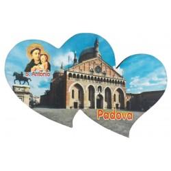 Holz-Magnet zwei Herzchen mit dem Heiligen Antonius