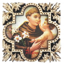 Natural wood magnet with St. Anthony