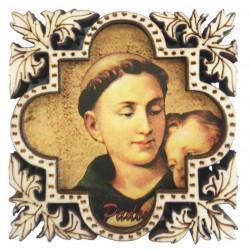 Magnet aus Holz geschnitzt mit heiligem Antonius
