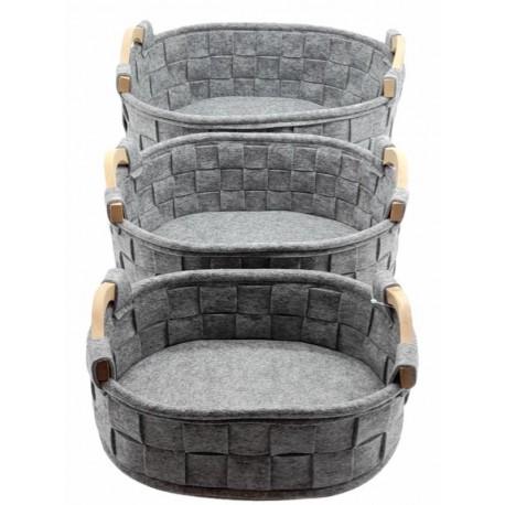 3 pc Set Felt Baskets