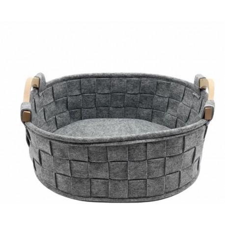 Cestino piccolo in feltro grigio con manici in legno