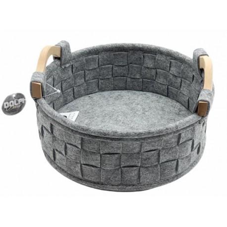 Round felt basket with wooden handles