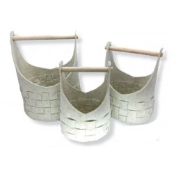 3-set felt basket with wooden handle