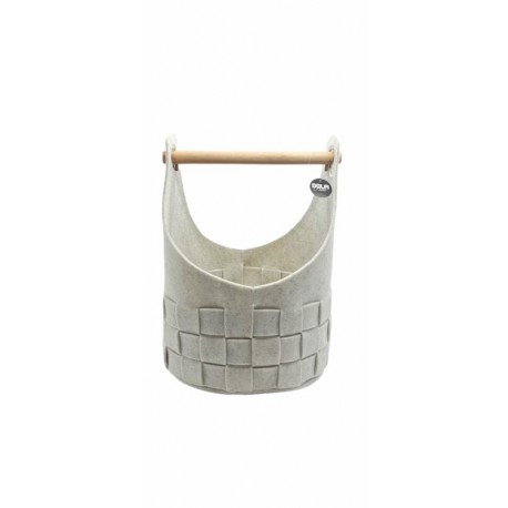 White small felt basket with wooden handle