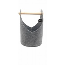 Cestino in feltro con manico in legno color grigio